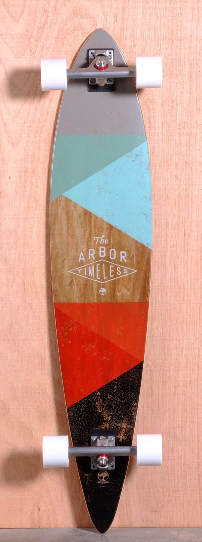 The Arbor Longboard. Abstract use of geometric shapes and combination of pastel and organic textures, creating a mellow mood for the board. Reinforcing the cruising nature of the longboard which contrasts to the nature of  a skateboard. The brands identity exists central of the board complimenting the aesthetics of the rest of the longboards deck design.