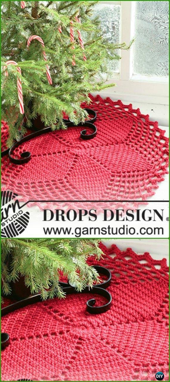 Crochet Red Star Christmas Tree Skirt Free Pattern - Crochet ...