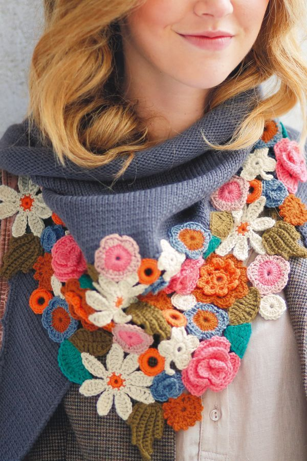 Mollie Makes crochet flowers pattern crochet spring scarf
