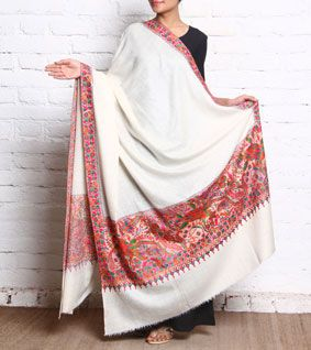 White Papier Mache Jamawar Pashmina Shawl