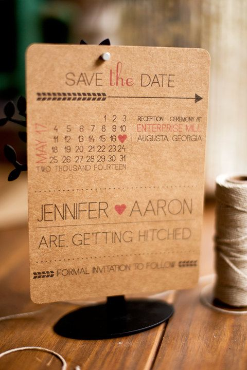 Kraft paper save the date fun, modern and quirky with a calendar on Etsy, 13,64 €
