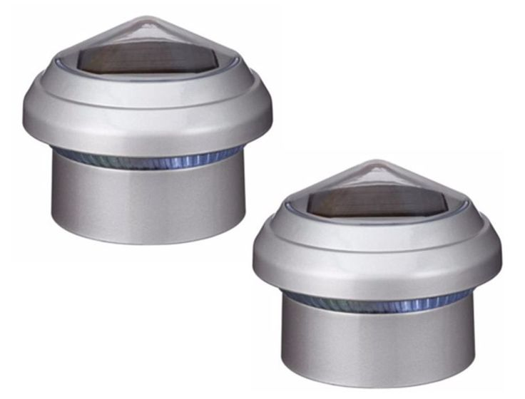 """NOMA 2 3/8"""" Chain LInk Fence Cap With Solar LED Lights Grey (2 pack) #ebay #trinital #NomaFenceCap"""