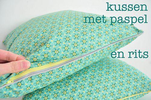 Tutorial voor een kussen met paspel en rits by Oon
