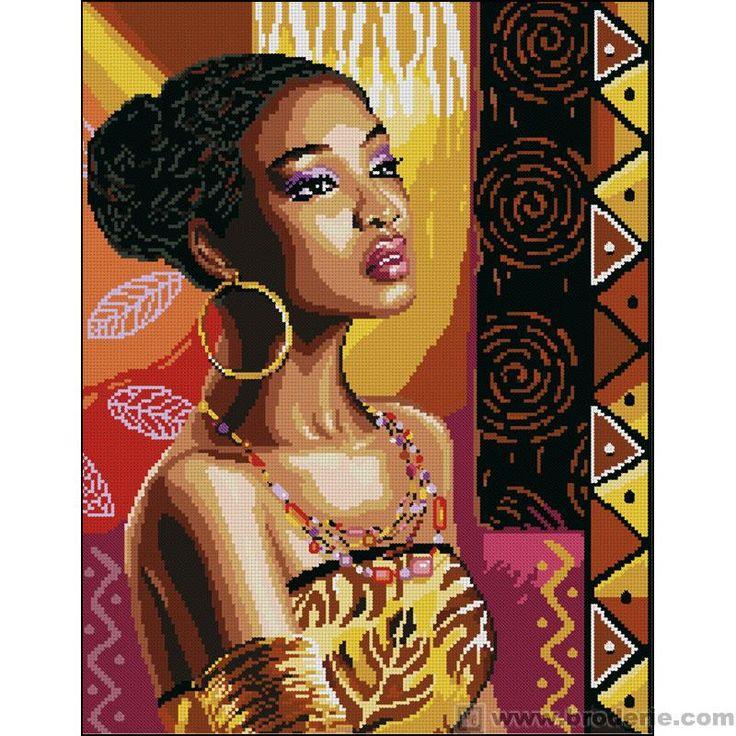 point de croix jolie femme noire - cross stitch pretty black lady - 47x53 aida 5.5