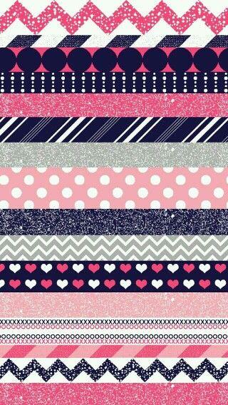 Chevron heart polka-dot wallpaper