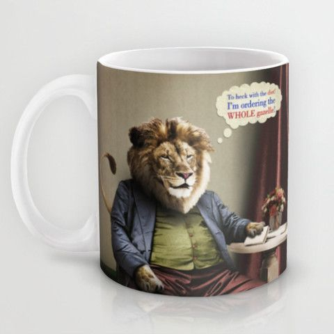 #society6 #Mug #coffee #home #decor #dorm #lion #diets #cats #animals #food #vintage #surreal #antique #gazelle #petergross