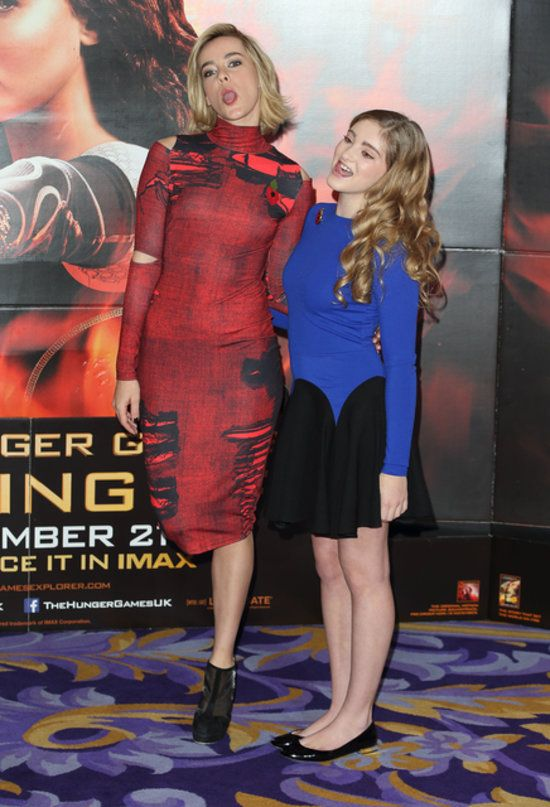 Jena Malone and Willow Shields at the photo call for the premiere of The Hunger Games: Catching Fire in London.