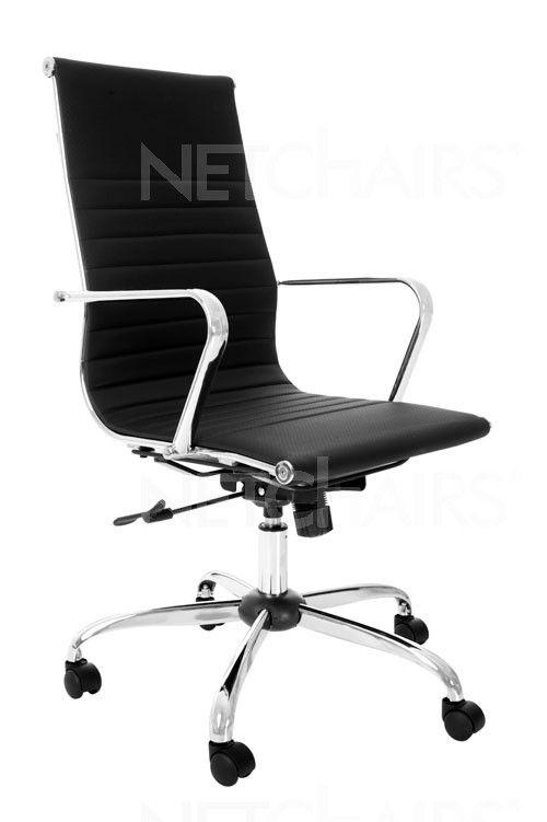 Cadeira Escritório Presidente Crome Preta Giratória com Rodinhas, Reclinável, Função Relax e Regulagem de Altura a Gás, Similar Charles Eames - 6774