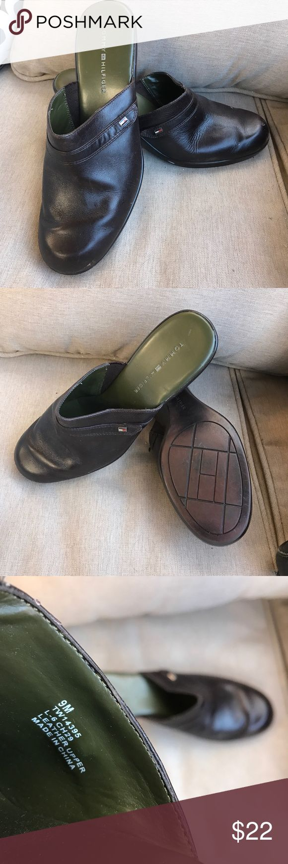 💥SALE‼️💥  Tommy Hilfiger Clogs These Tommy Hilfiger Clogs are in great condition! Brown leather uppers. Women's size 9 (40) Tommy Hilfiger Shoes Mules & Clogs