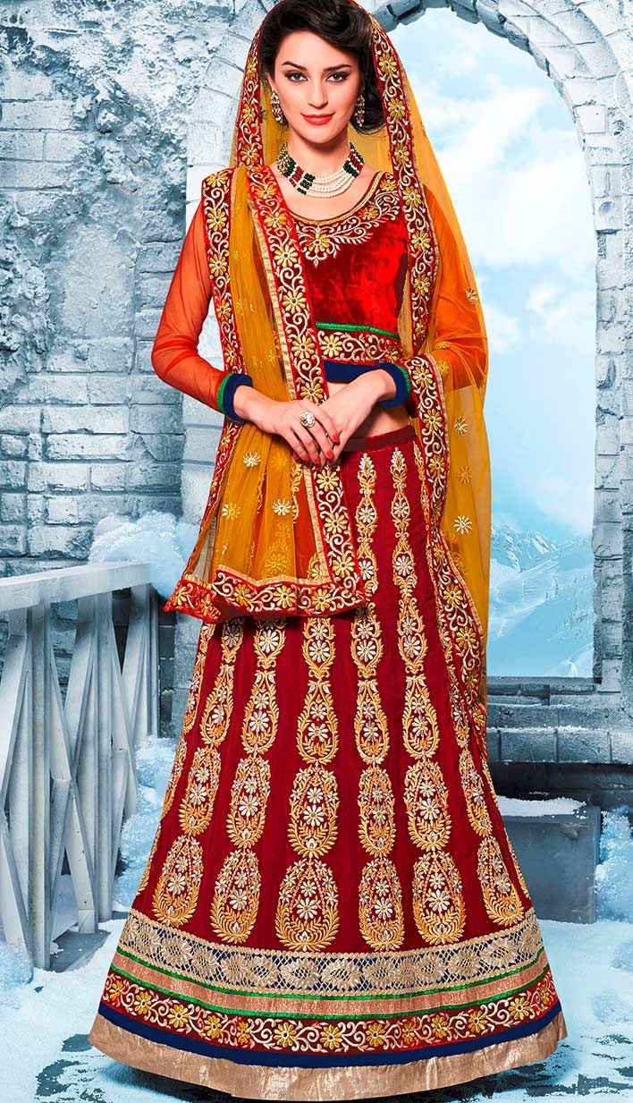 Beautiful Indian Bridal Deep Red Georgette Lehenga Best For Online Shoping.  For more information, visit Efello.com .