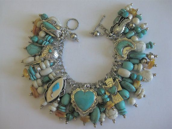 Native American Inspired Turquoise and Butterscotch Amber Charm Bracelet