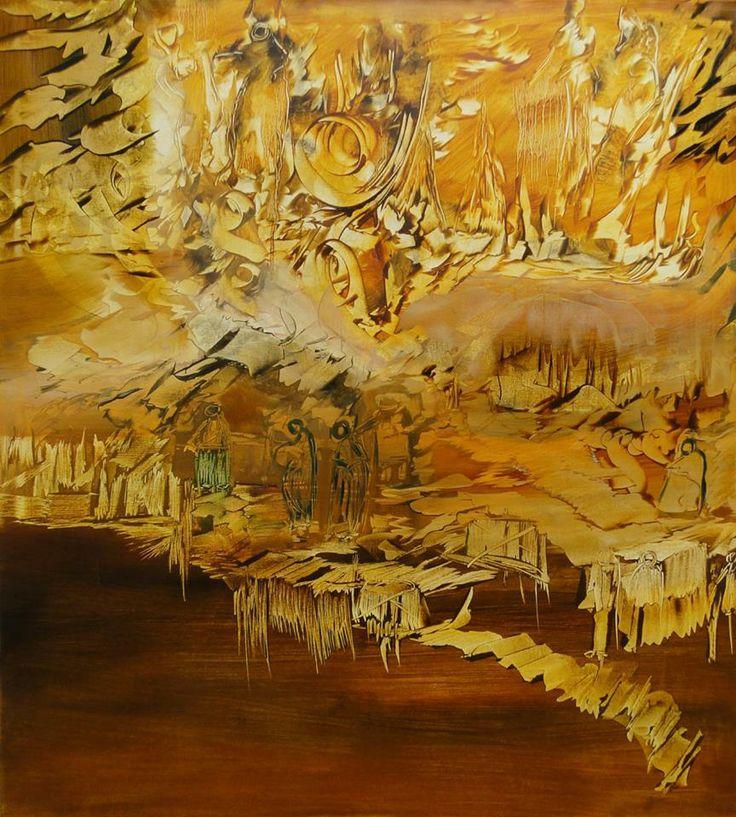 """""""Imágenes rupestes"""" - Monica Medina - Oleo sobre tela - 100 x 90 cm www.esencialismo.com"""