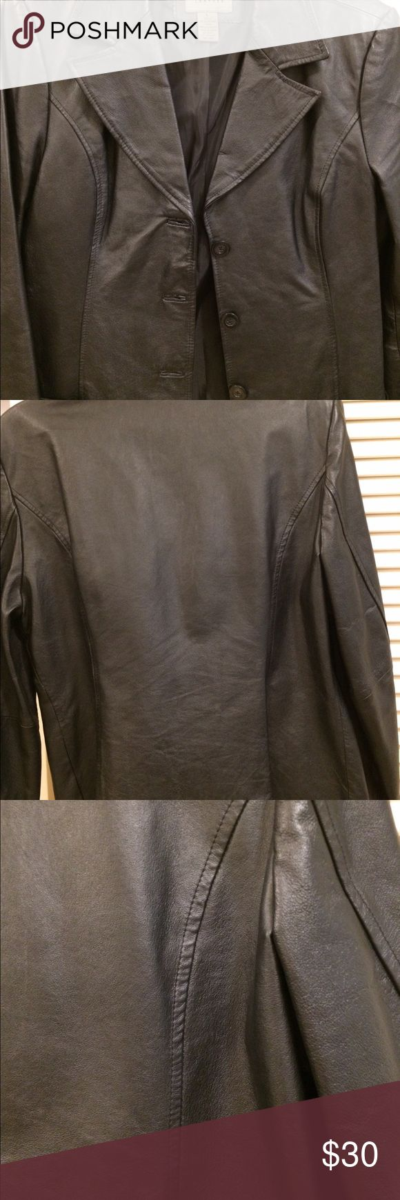 Ladies Leather  jacket Uniform by John Paul Richard black fully lined leather jacket. Ladies 3 front button jacket - perfect condition - worn one time. Front patch pockets. 100% leather w/ Polyester lining. Uniform by John Paul Richard Jackets & Coats