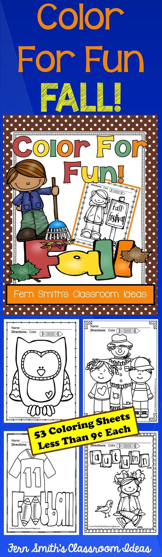 Fall Fun! Color For Fun Printable Coloring Pages {53 coloring pages equals less than 9 cents a page.} #Free Autumn Coloring Page in the Preview Download #TPT $Paid