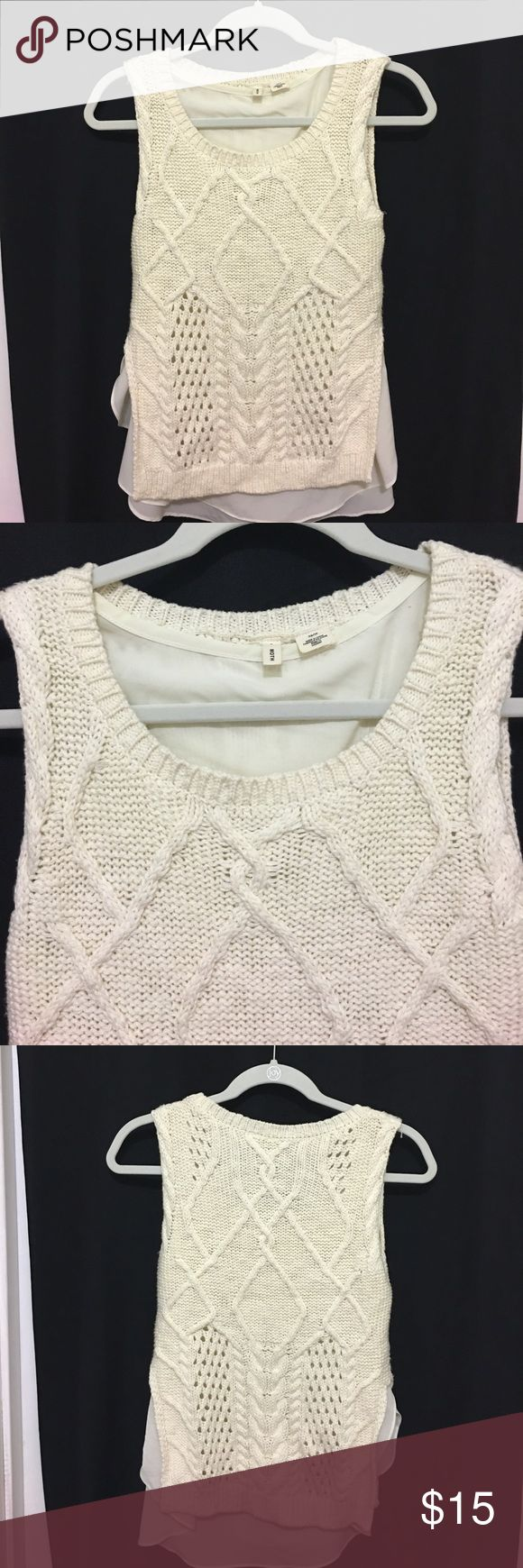 Gorgeous MOTH Anthropologie Brand Sweater Gorgeous MOTH Anthropologie brand sweater. Cream Colored. Size X-Small. Sleeveless. Shell 100% Cotton/Lining 91% Polyester/9% Spandex. Measures approximately 14 inches armpit to armpit. In good preowned condition. Please ask all questions prior to making an offer or purchase. Thanks for looking! MOTH Sweaters