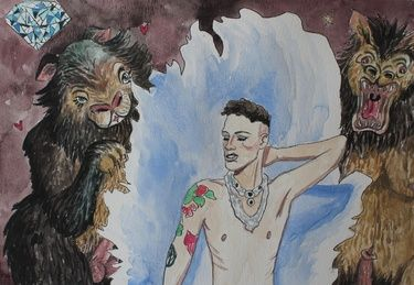 "Saatchi Art Artist Shannon Lester; Painting, ""Tom & the Two Bears"" #art #bears #fantasy #painting #watercolour #watercolor #illustration #drawing #boylesque #burlesque #tattoo #tattoos #boy #gay #queer #diamond"