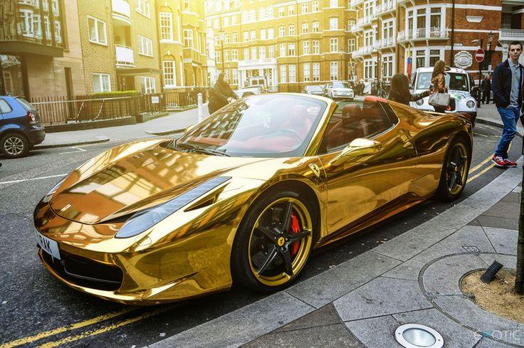 "Chrome Gold Ferrari 458 Spider via DiLeon Di Morrow FB via Architecture & Design   (""Wretched Excess""?)"