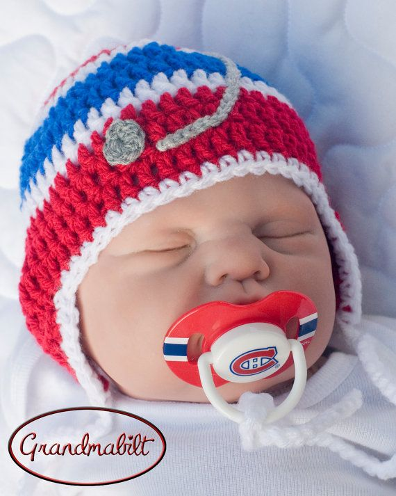 Red, Royal Blue and White Crocheted Hockey Helmet Hat by Grandmabilt, $21.00