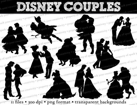 Disney Princess and Prince Silhouettes // Disney Couples Dancing Silhouette // Disney Clipart // Princess Silhouettes // Mary Poppins