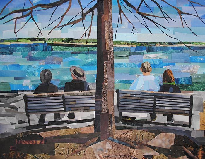 """A Potomac River Afternoon"" is a collage made entirely from magazine strips"