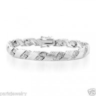 Paris Jewelry 2 Carat Genuine Diamond Designer Style Bracelet in Sterling Silver 7.5 inch ( K-I3 ) $239