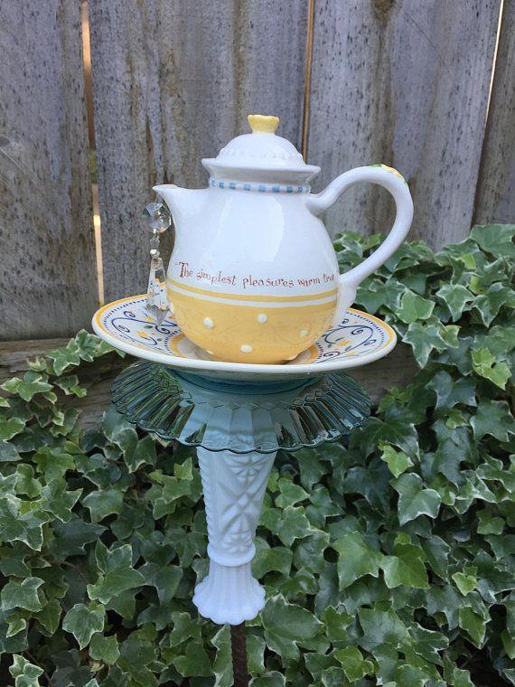 Tea pot Totem, Garden Decor, Vintage Glass, Yard Art \