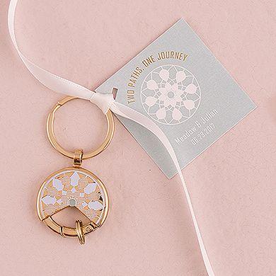 Mini filtro dos sonhos dourados como lembrança de casamento. Presente útil e lindo para os convidados, eles vão amar!