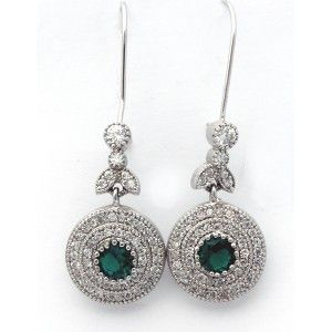 Yeşil ve zirkon taşlı,925 ayar gümüş bayan küpe