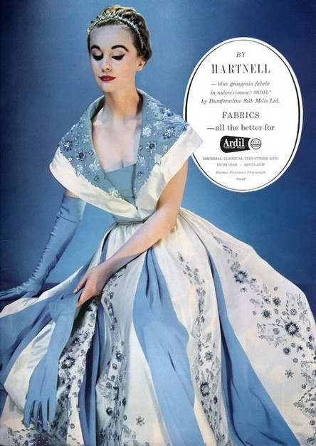 evening dress from a Hartnell ad that appeared in Vogue, 1954