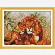 DIY Needlework Lion Family! 11CT 14CT DMC Counted Cross Stitch Kits For Embroidery Knitting Needles Handmade Patchwork Crafts(China (Mainland))