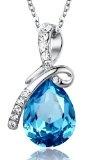 Arco Iris Eternal Love Teardrop Swarovski Elements Crystal Pendant Necklace for Women W 18k White Gold Plated Chain - Blue Topaz