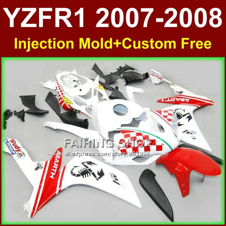 (427.80$)  Know more  - High quality bodyworks for YAMAHA YZFR1 2007 2008 R1 fairing sets YZF R1 YZF1000 YZF 1000 07 08 R1 46 white red fairings kits