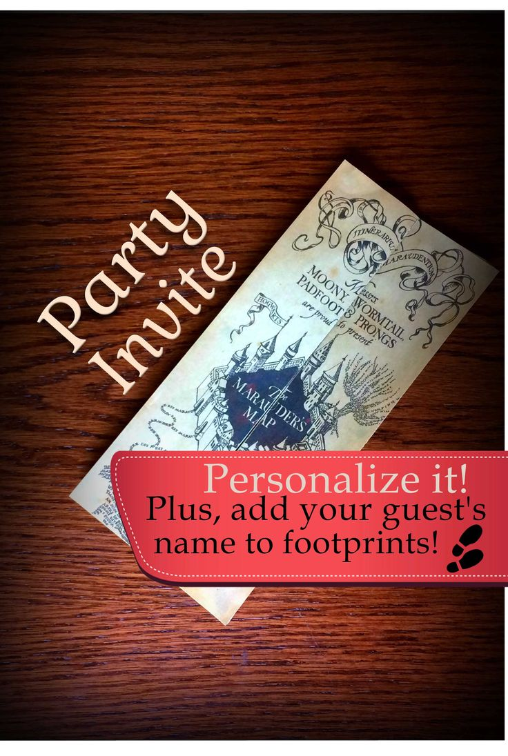 Harry Potter Invitation, Marauders Map Party Supplies