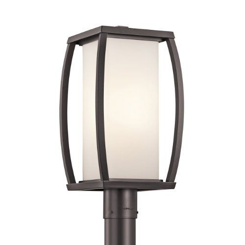 Kichler Lighting 49342AZ Bowen Post Mount Light, Architectural Bronze by Kichler. $310.00. From the Manufacturer                Finish: Architectural Bronze, Glass: Satin-Etched Cased Opal, Light Bulb:(1)150w A21 Med F Incand Bowen 1-light post light. Note: Post sold separately.                                    Product Description                Finish:Architectural Bronze, Glass:Satin-Etched Cased Opal, Light Bulb:(1)150w A21 Med F Incand Bowen 1-light post light. Note: P...
