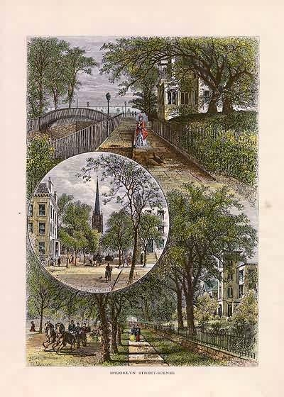 Brooklyn, New York Street Scenes antique print. William Cullen Bryant, 1872 from Picturesque America.