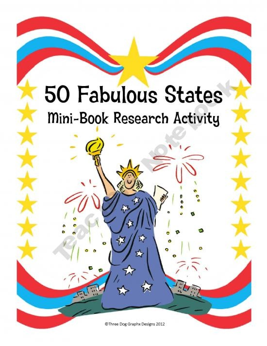 Fabulous Fifty States Mini-Booklet Research Activity Printable product from The-Trail-4-Success on TeachersNotebook.com