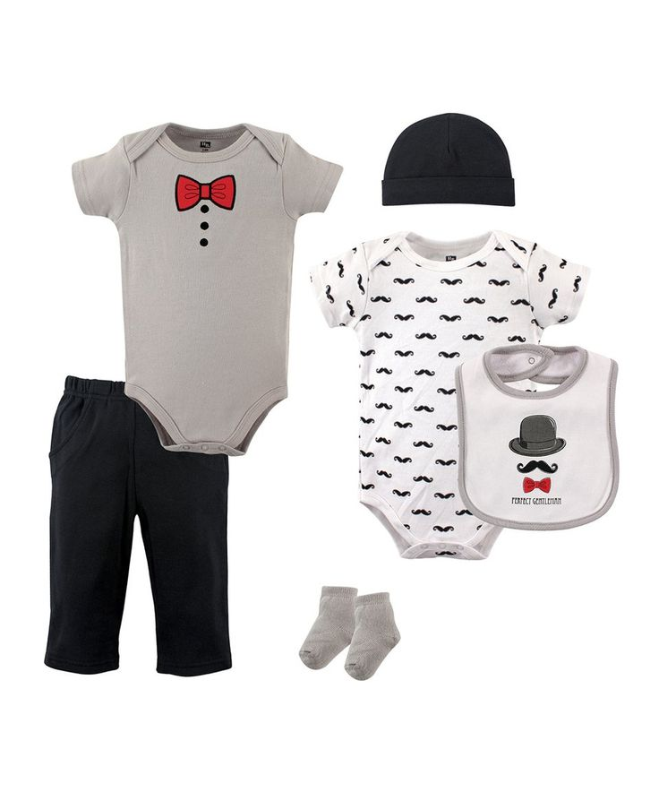 Take a look at this Hudson Baby White Mustache Six-Piece Layette Set - Infant today! Moustache Little Sir pantaloons bow tie value beanie socks jumpsuit bib pants leggings