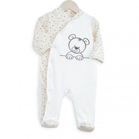 Apportez de la douceur à bébé dès sa naissance avec ce pyjama bébé tout doux. En plus ce pyjama est très facile à enfiler, idéal et pratique quand bébé est tout petit. #naissance #cadeau #maternité #valise #pyjama #bébé