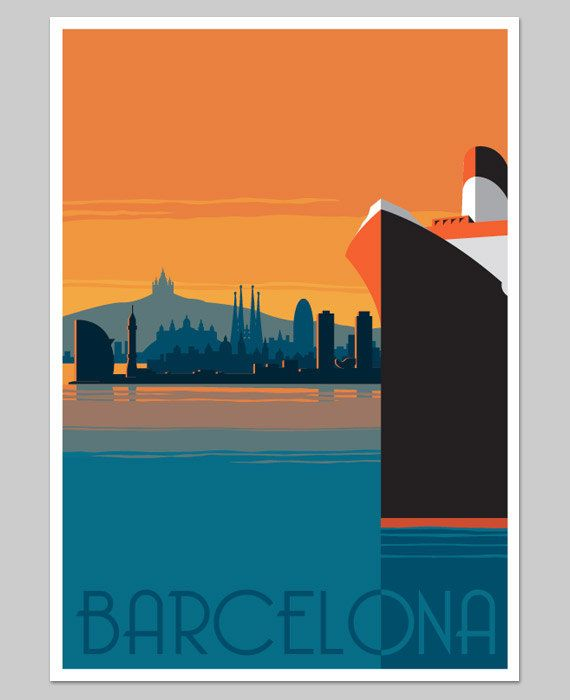 Barcelona Retro poster inspired by Art Deco travel posters, with a modern twist .................................    Poster size A2    Width: 42.0 cm