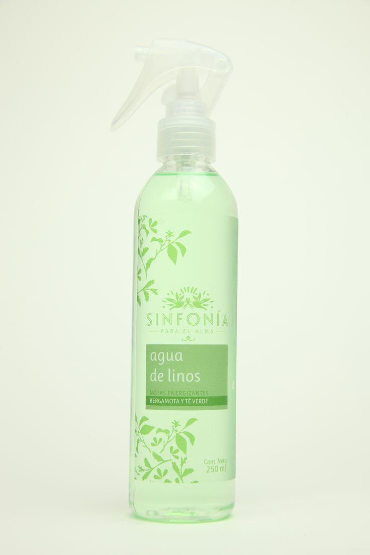 Agua de linos con fragancia bergamota y té verde ideal para aplicar en las toallas