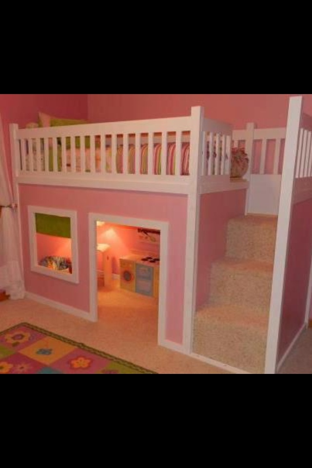 Beautiful little girls bed i bet we could do something like this for the home pinterest - Beautiful bunk bed teens ...