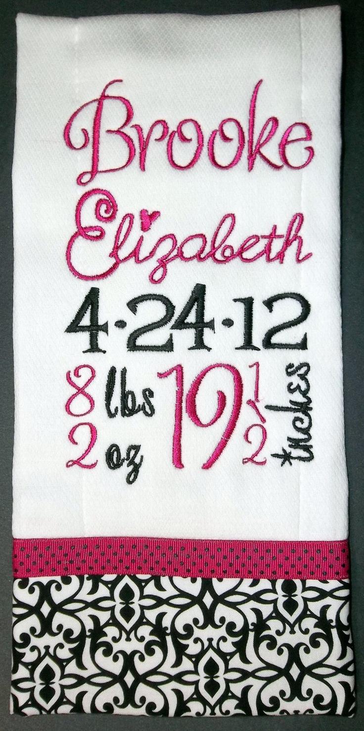 Birth Record Burp Cloth for Baby Girl. $16.00, via Etsy.