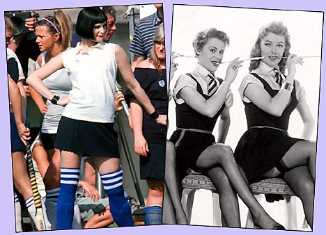 Kelly Jones, St. Trinians. Either her field hockey kit or her trademark pencil skirt.