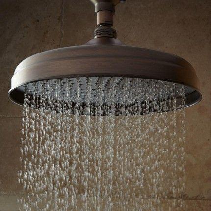 Lambert Wall-Mount Rainfall Shower Head with Ornate Extended Shower ...