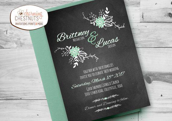 Chalkboard and Mint Wedding Invitation Set by CharmingChestnuts