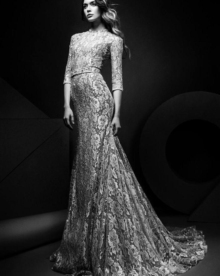 Three quarter sleeve french lace ss18 Miss Jessel wedding dress by Ersa Atelier