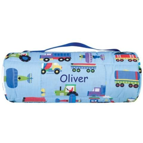 Personalized Toddler & Preschool Nap Mats - Trains, Planes and Trucks