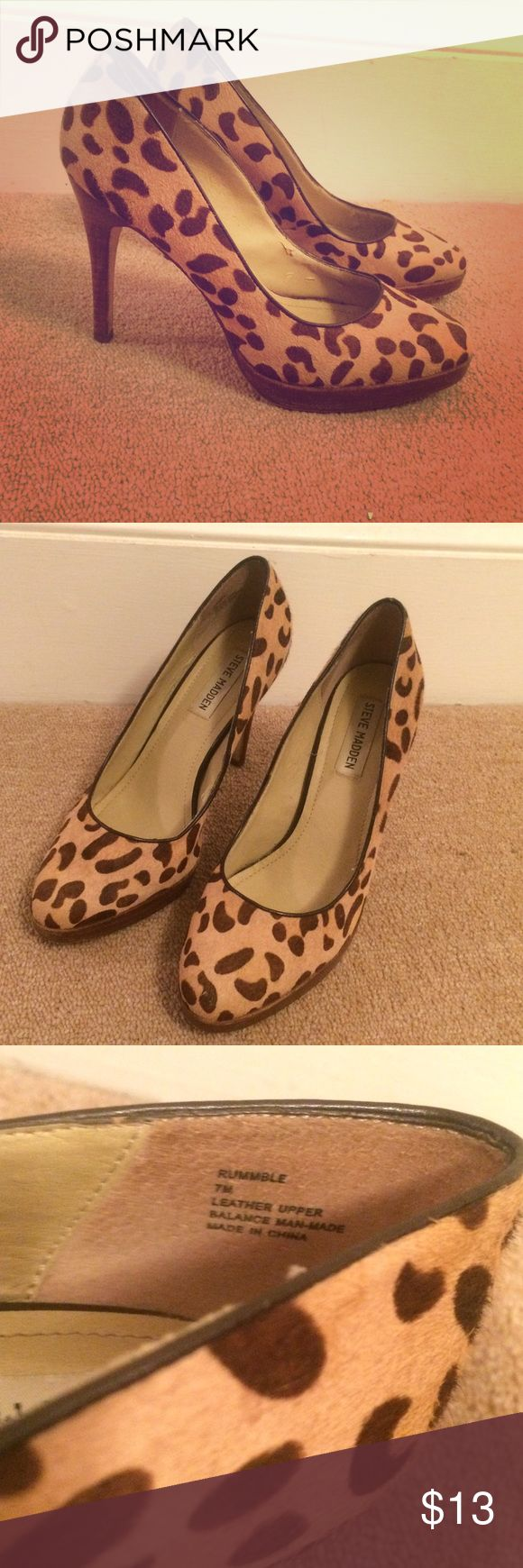 Steve Madden Leopard Print Pumps Size 7 Steve Madden Calf-hair Leopard Print Pumps Size 7, gently worn - in great condition. Very comfortable! Steve Madden Shoes Heels