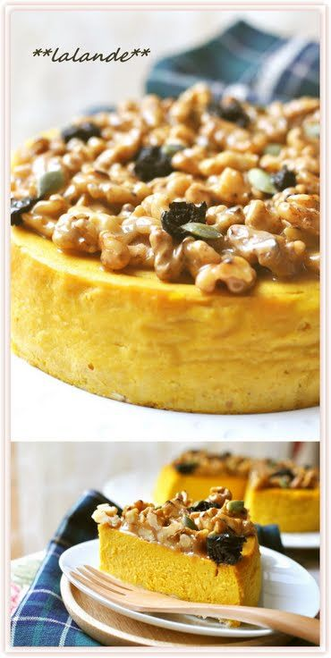 "Kabocha Squash Cheesecake with Caramelized Walnuts! ""The texture of this cheesecake is so is moist and smooth. ~ The caramelized walnuts are a wonderful accent in this kabocha squash cheesecake, a recipe I'm really proud of.""  @allthecooks #recipe"