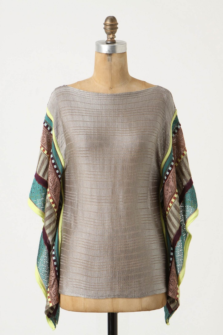 Beautiful Pullover With Metallic Thread And Draped, Colorful Sleeves